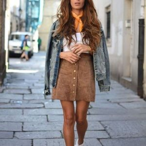 H&M Brown Suede Mini Skirt